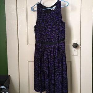 LOFT black and purple dress